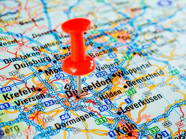 BACO Logistic - Duesseldorf - Kontraktlogistik - Lager - Transport - Service - Pin auf Landkarte Düsseldorf